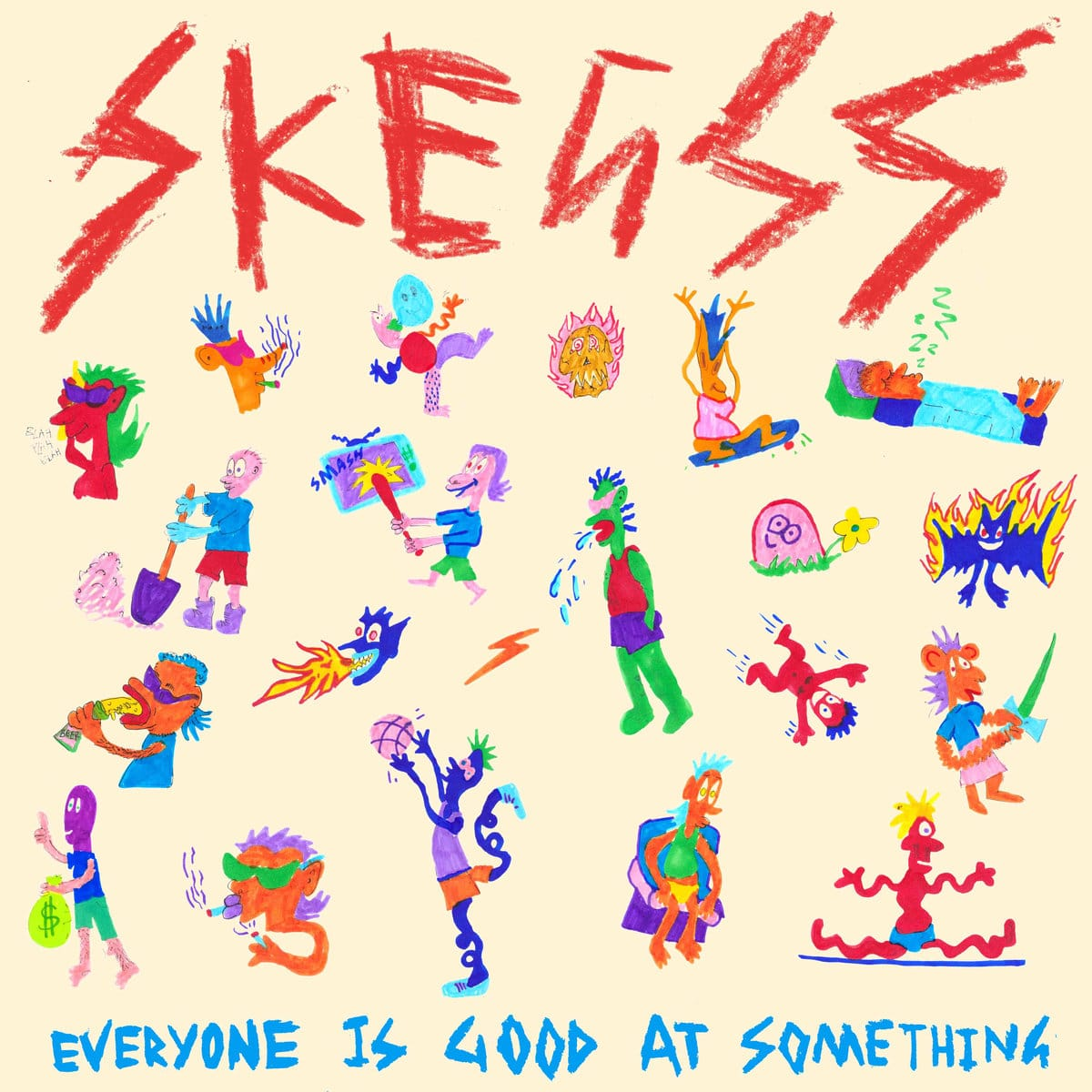 An animated album cover of band Skeggs, Everyone is Good at Something